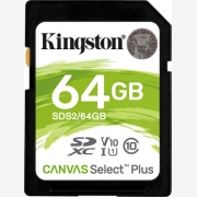 Kingston Canvas Select Plus SDXC 64GB Read 100MB/S Class 10 SDS2/64GB